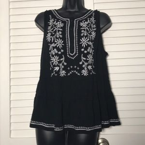 Embroidered Black and White Top